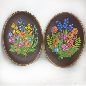 Vintage Wildflowers Oval Wall Art (Set of Two)